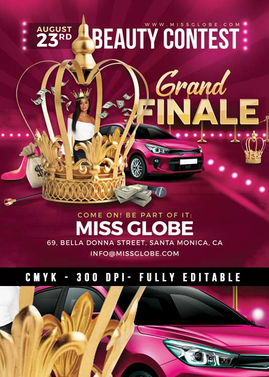 Miss World Beauty Contest Finale Flyer Template download