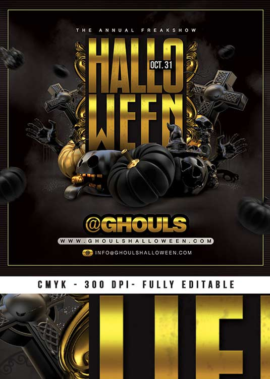 Scary Dark Halloween Nightclub Party Flyer Template download
