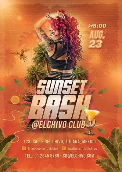 Sunset Bash Exotic Night Club Flyer Template download