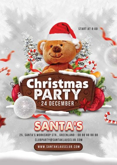 Squared Xmas Party Vertical Christmas Flyer Template download