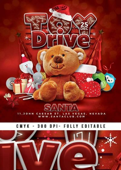Christmas Toy Drive Xmas Charity Flyer Template download