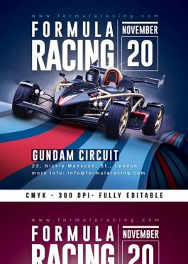 Formula, Karting, 4×4 Racing Competition Flyer Template