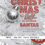 Red And Silver Christmas Party Flyer Template download