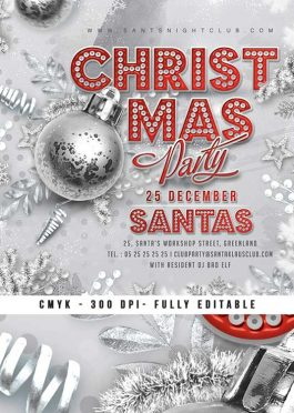 Red And Silver Christmas Party Flyer Template