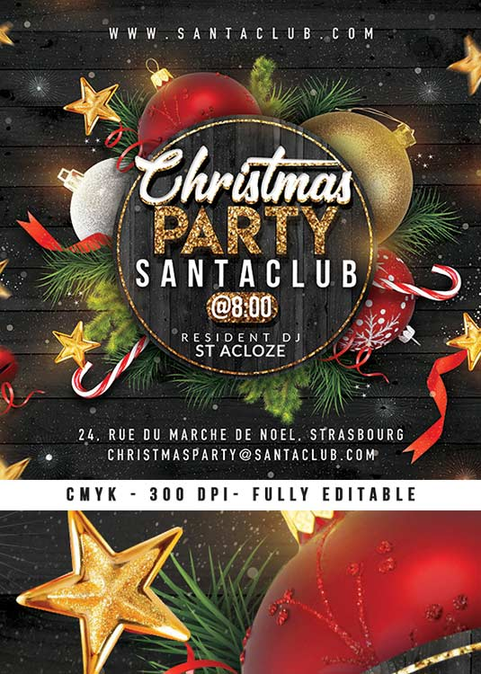 Cozy Christmas Night Party Xmas Flyer Template download