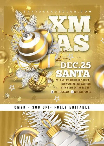 Gold Color Christmas Night Party Flyer Xmas Template download