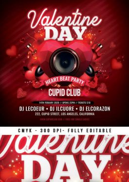 Saint Valentine Day Heart Beat Party Flyer Template