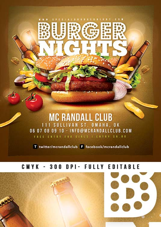 Special Burger Nights Out Club Party Flyer Template download