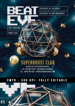 Super DJ Mix Super Beat Eve Flyer Party Template