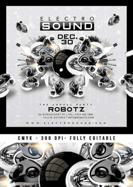 Electro Sound Party Club Flyer Or CD Cover Template