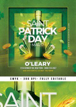 Ireland Saint Patrick Day celebration Flyer Template