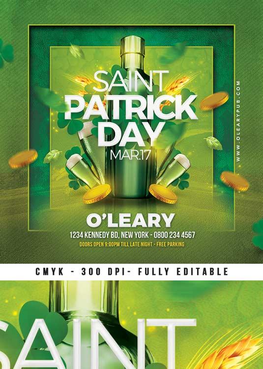 Ireland Saint Patrick Day celebration Flyer Template download