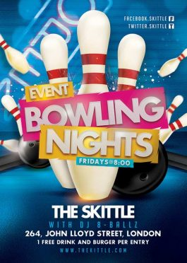 Themed Bowling Club Night Or Party Flyer Template