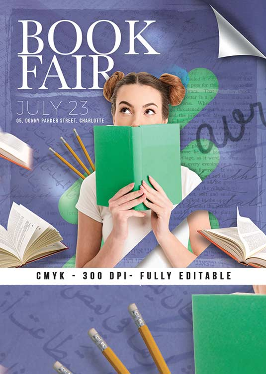 Book Fair Exposition Or Library Shop Flyer Template download