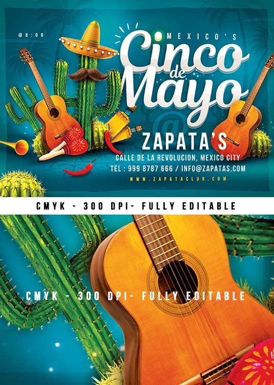 Mexico Celebration Cinco de Mayo Party Flyer Template download