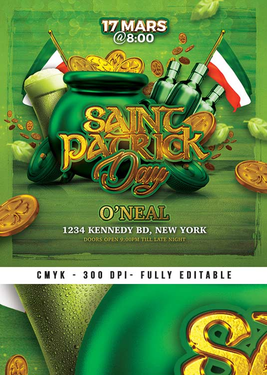 St Patrick Day Celebration Party Flyer Template download