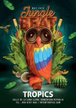 Exotic Jungle Beat Night Party Flyer Template