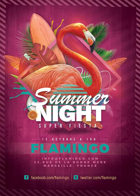 Flamingo Seasonal Summer Party Flyer Template download