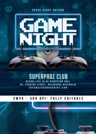 Retro Gaming Video Game Arcade Night Flyer Template download