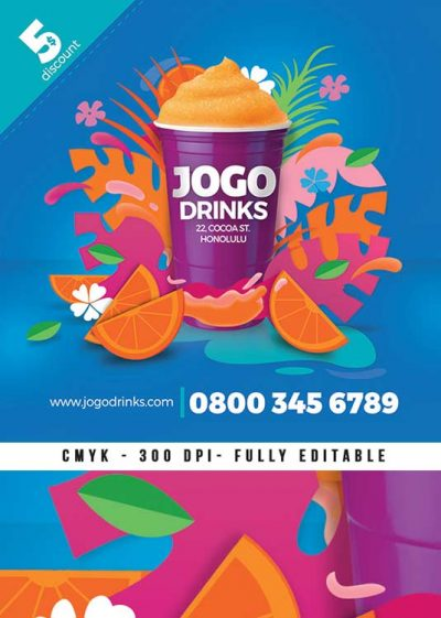 Seasonal Tropical Party Juice Drink Flyer Template download
