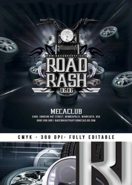 Road Rash Biker Themed party flyer template