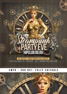 Steampunk Themed Party Night Club Flyer Template