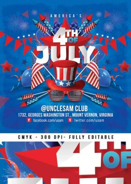 Usa 4th Of July National Day party Flyer template