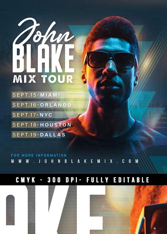 DJ Mix Tour Event Night Club Flyer Template