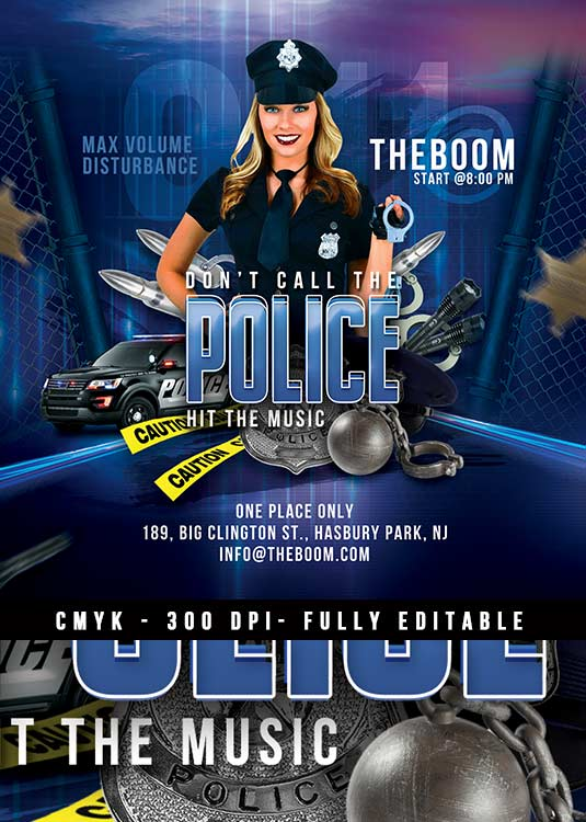 Themed Police Night Night Club Flyer Template