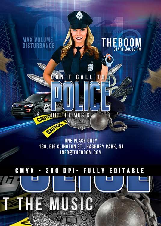 Themed Police Night Night Club Flyer Template