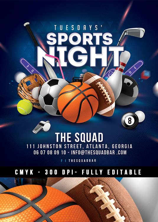 Bar Unlimited Night Sport event Flyer Template