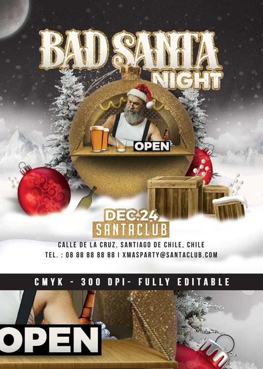Bad Santa Themed Christmas Flyer Template