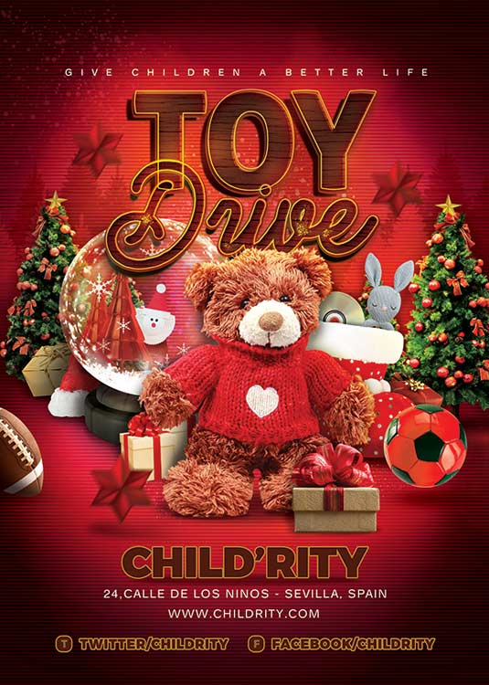 Charity Christmas Toy Drive Children  Flyer Template