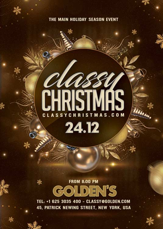 Classy Christmas Themed Eve Party Flyer Template