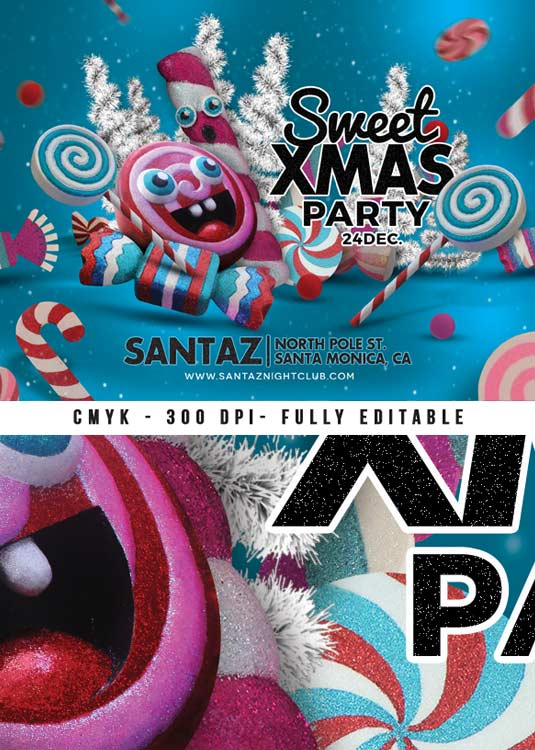 Sweet Xmas Themed Club Party Flyer Template