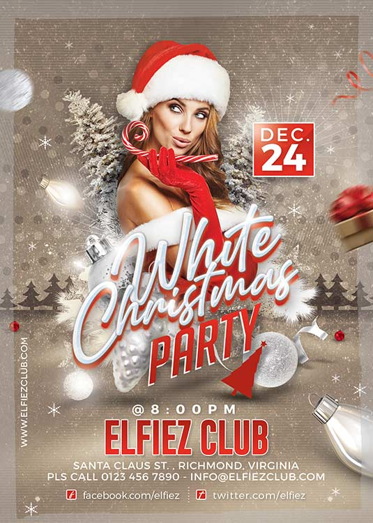 White Christmas Celebration Party Flyer Template