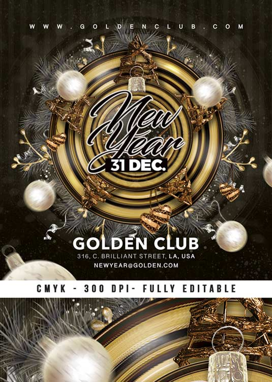 Winter Holiday Nye Party Club Flyer Template