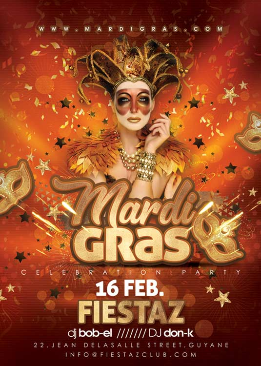 Masked Mardi Gras Or Carnival Party Flyer Template
