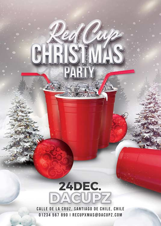 Red Cup Themed Christmas Party Flyer Template