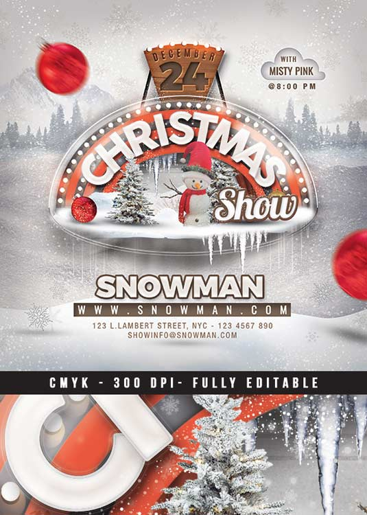 Winter Holidays Or Christmas Show Flyer Template