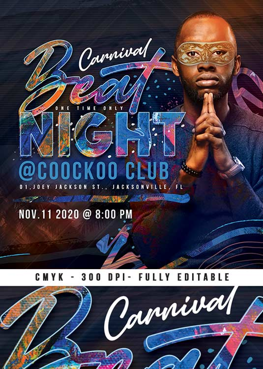 Colorful DJ Beat Night Or Masked Flyer Template