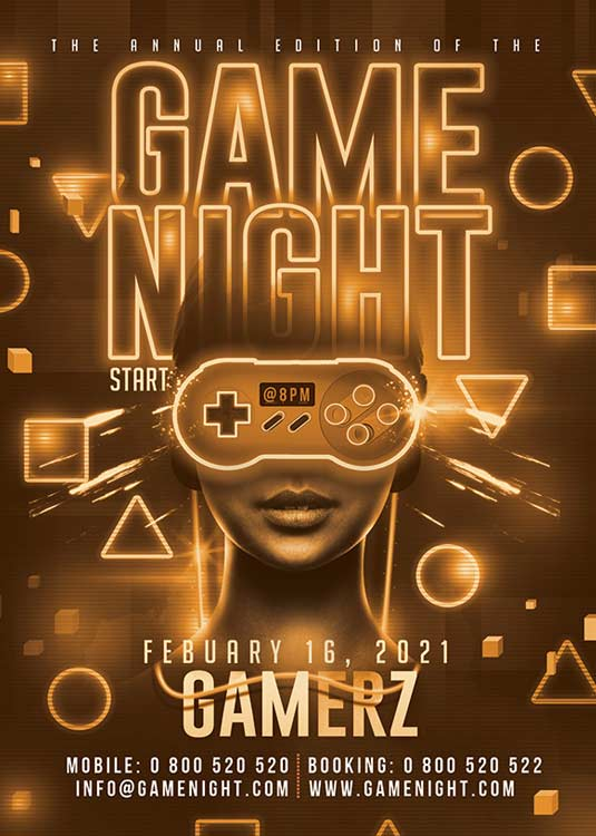 Special Videogame Night Themed Flyer Template