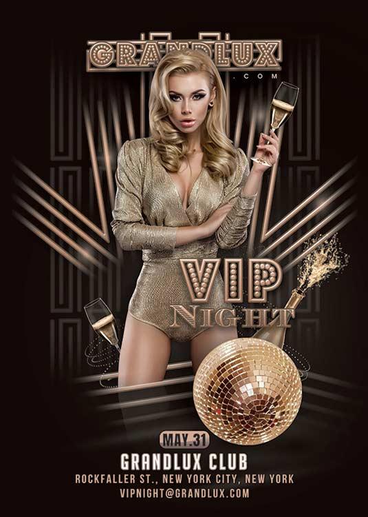 Classy Themed Vip Night Club Flyer Template