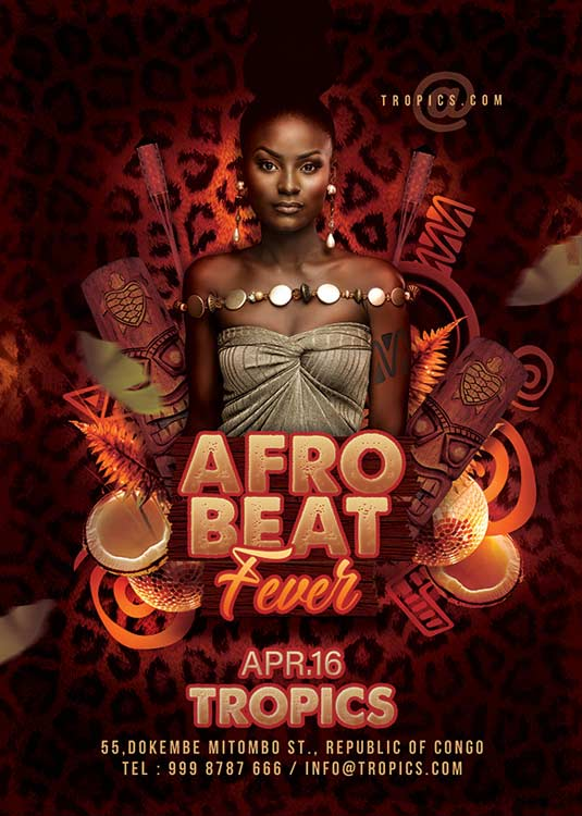 Special Afro Beat Club Night Themed Flyer Template