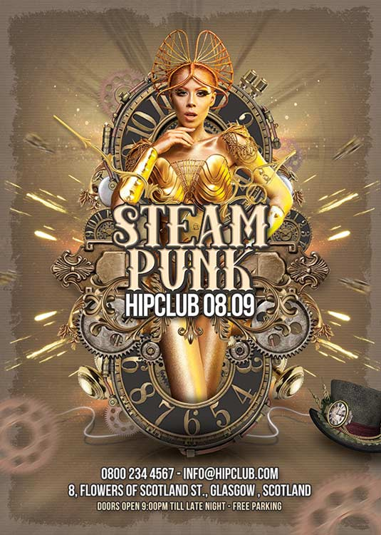 Steampunk Theme Party Night Club Flyer Template