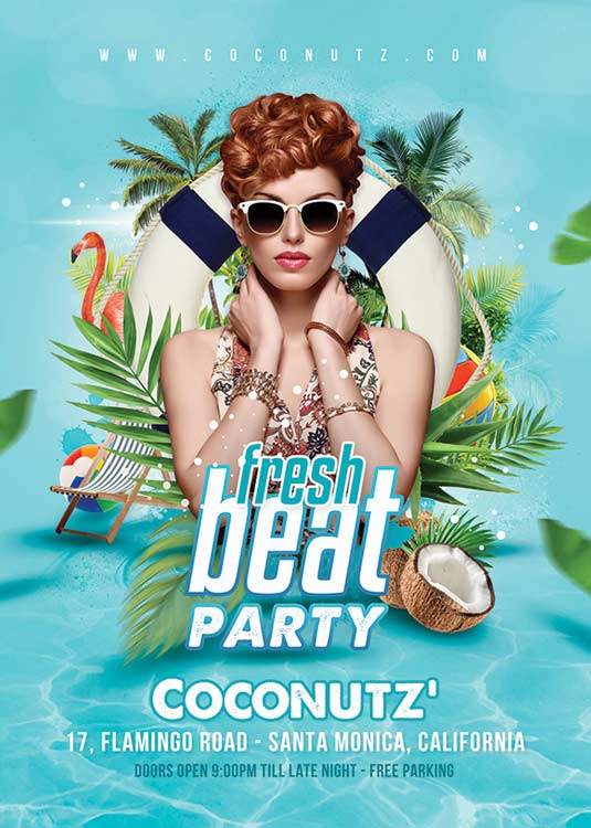 Fresh Beat Summer Or Sping Event Party Flyer Template