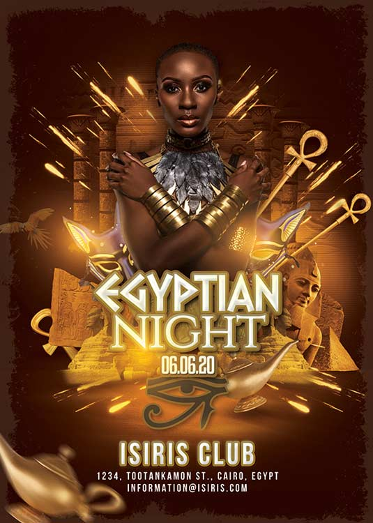 Themed Egyptian Night Club Event Flyer Template