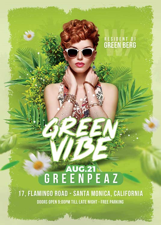 Special Green Vibe Party Night Club Flyer Template