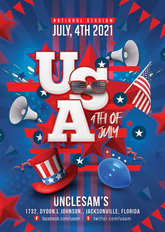 Special Themed USA 4th Of July Flyer Template