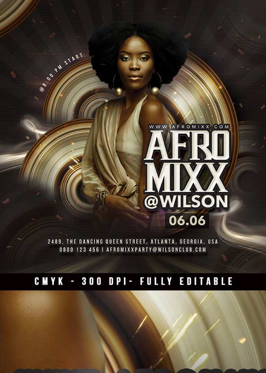Themed Afro Mixx Night Club Event Flyer Template